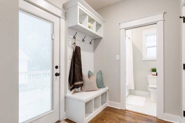 Mudroom with built in shelving in home built by Richmond Hill Design-Build