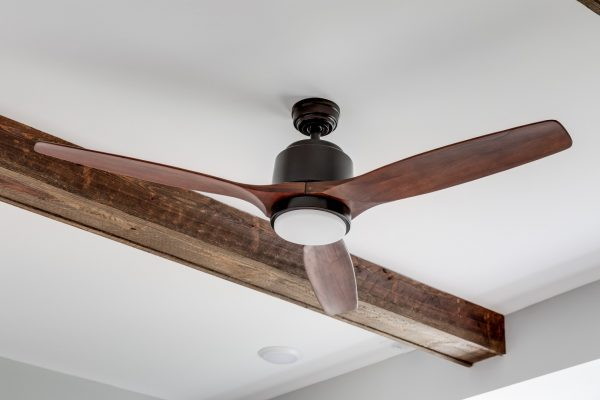 Wooden ceiling fan in new home built by Richmond Hill Design-Build