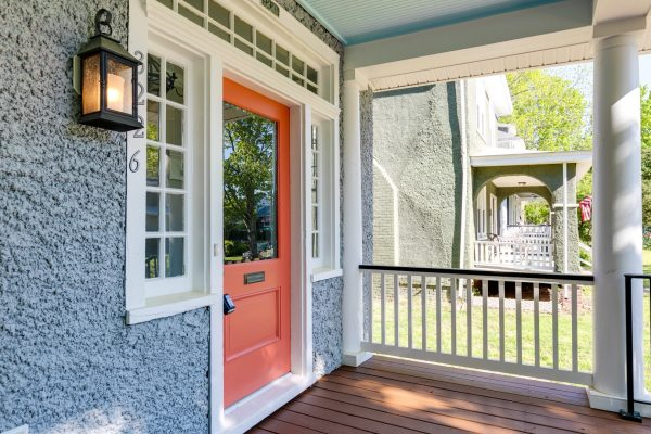 Bright front door on beautiful renovated home built by Richmond Hill Design-Build