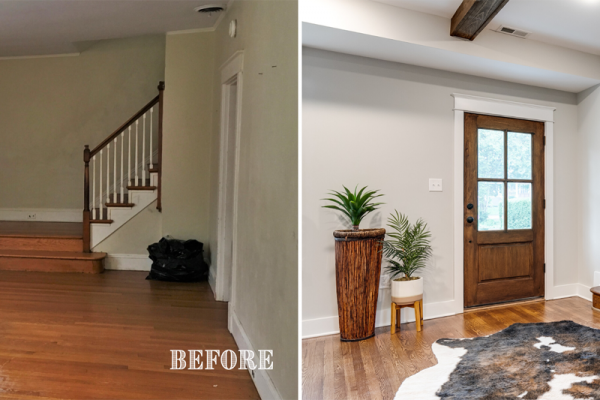 Updated foyer in renovation by Richmond Hill Design + Build