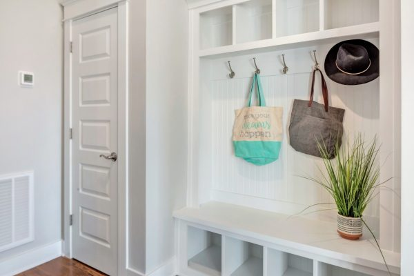 Mudroom with built in storage in home built by Richmond Hill Design-Build