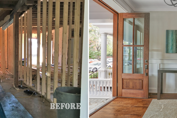 Before and after photos of foyer by Richmond Hill Design-Build