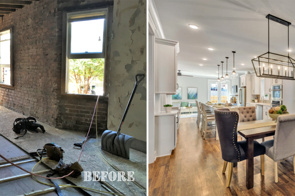 Before and after photos of kitchen and dining areas by Richmond Hill Design-Build