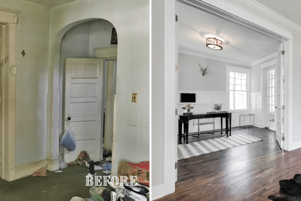 Amazing before and after photo of foyer renovation by Richmond Hill Design + Build