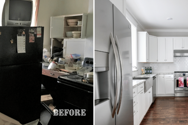 Renovated kitchen with white cabinetry by Richmond Hill Design + Build