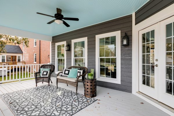 Back porch of home built by Richmond Hill Design-Build