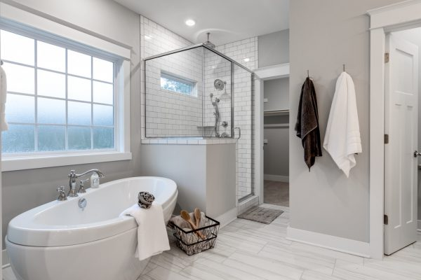 Beautiful owner's bathroom in new home by Richmond Hill Design-Build
