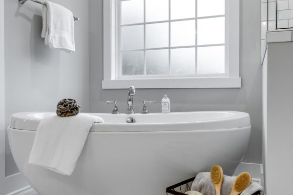 Beautiful freestanding tub in owner's bathroom in new home by Richmond Hill Design-Build