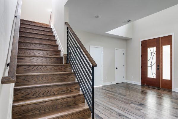 Stunning foyer in new contemporary home by Richmond Hill Design-Build