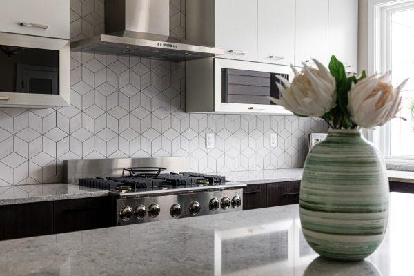 Gorgeous backsplash in kitchen in new home built by Richmond Hill Design-Build