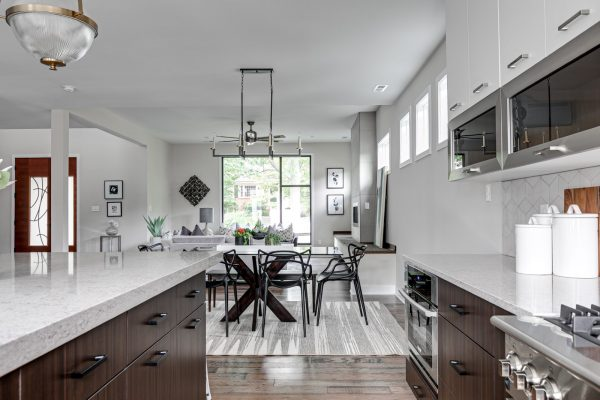 Open concept floor plan in new contemporary home by Richmond Hill Design-Build