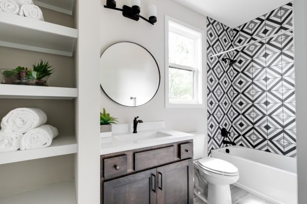 Guest bathroom in new contemporary home by Richmond Hill Design-Build