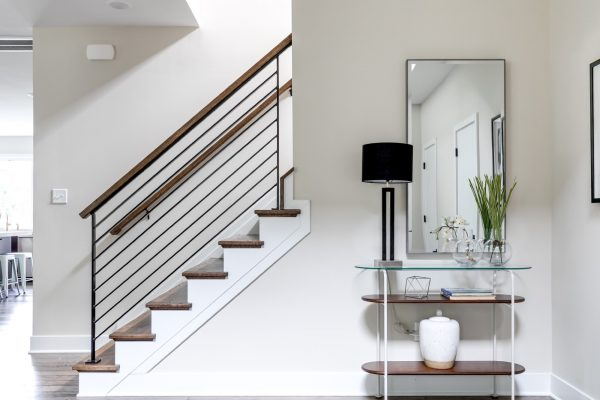 Stunning foyer of new contemporary home by Richmond Hill Design-Build