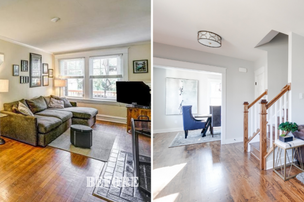 Before and after photos of foyer of renovated home by Richmond Hill Design-Build