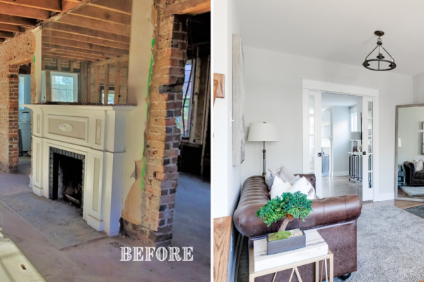 Before and after photos of sitting room by Richmond Hill Design-Build