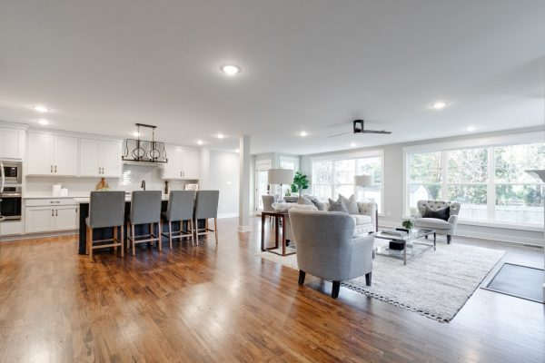 Kitchen and family room of renovation of home by Richmond Hill Design-Build