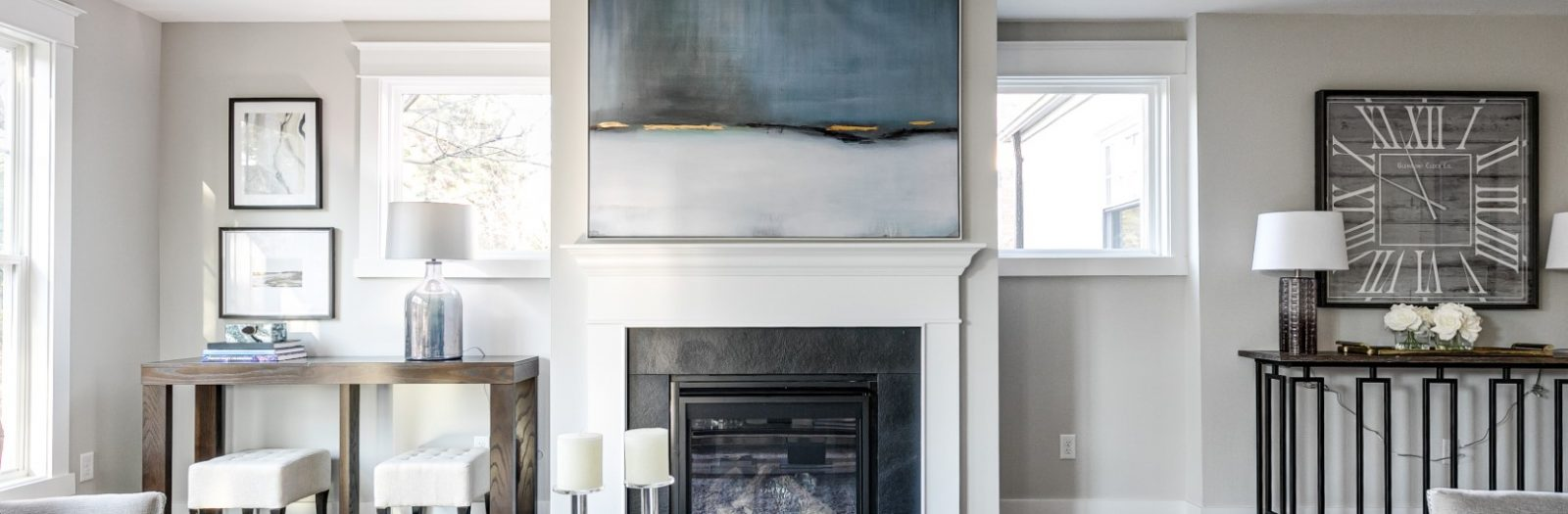Family room with built-ins in renovated home by Richmond Hill Design-Build