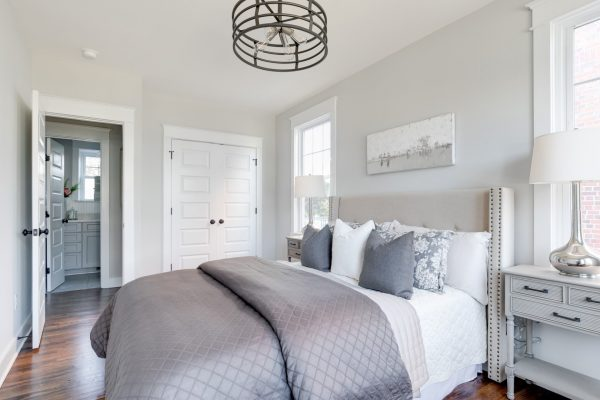 Guest bedroom in renovated Dutch Colonial home by Richmond Hill Design-Build