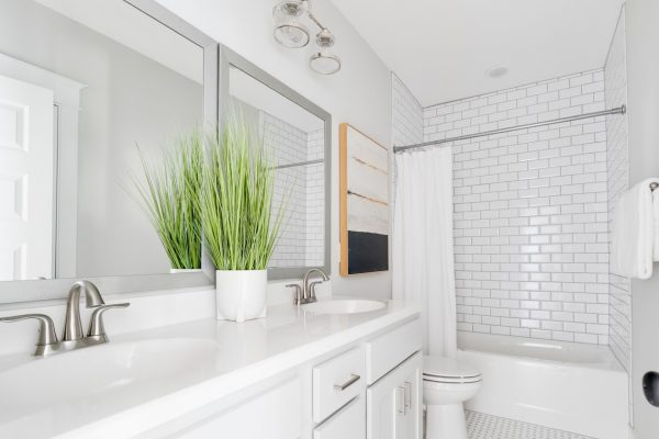 Guest bathroom in renovated Dutch Colonial home by Richmond Hill Design-Build
