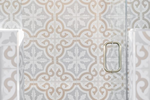 Gorgeous tile in owner's bathroom in renovated Dutch Colonial home by Richmond Hill Design-Build