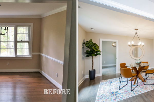 Before and after photos of dining room by Richmond Hill Design-Build