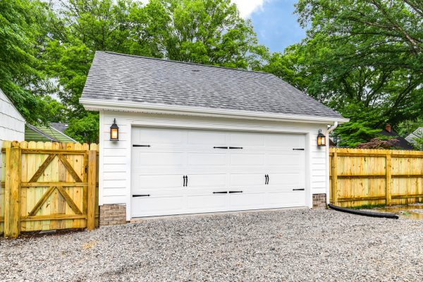 Two car garage in backyard of beautiful new home built by Richmond Hill Design-Build