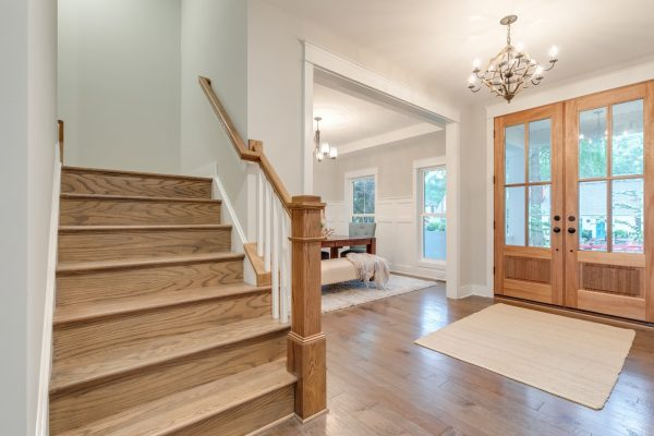 Entryway and staircase in home built by Richmond Hill Design-Build