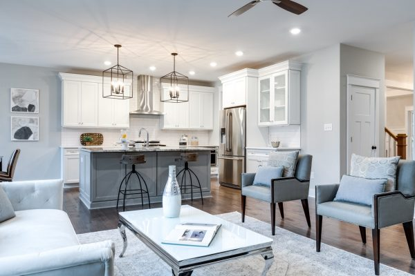 Family room and kitchen in home built by Richmond Hill Design-Build