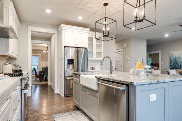 Kitchen with stainless steel appliances in home built by Richmond Hill Design-Build