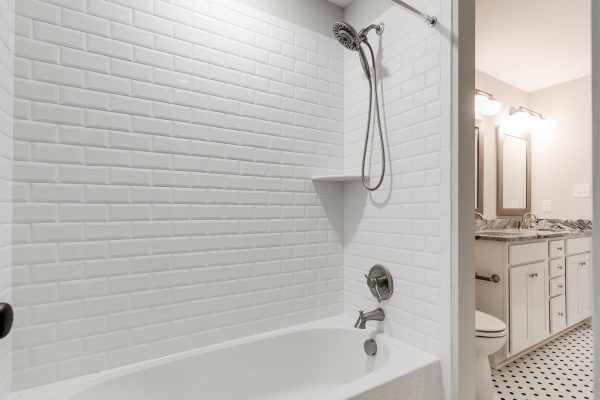Guest bathroom in new home by Richmond Hill Design-Build