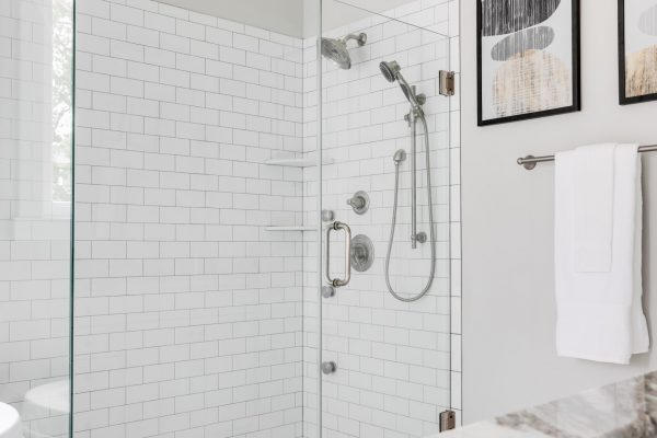 Owner's shower in new home by Richmond Hill Design-Build