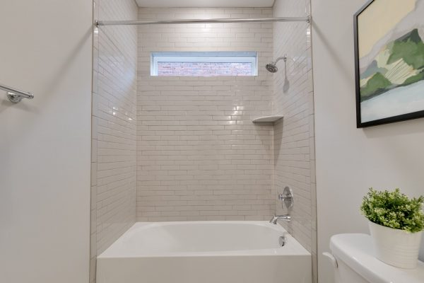 Guest bathroom in new townhouse by Richmond Hill Design-Build