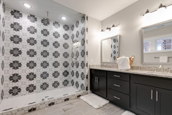 Gorgeous owner's bathroom in new townhouse by Richmond Hill Design-Build