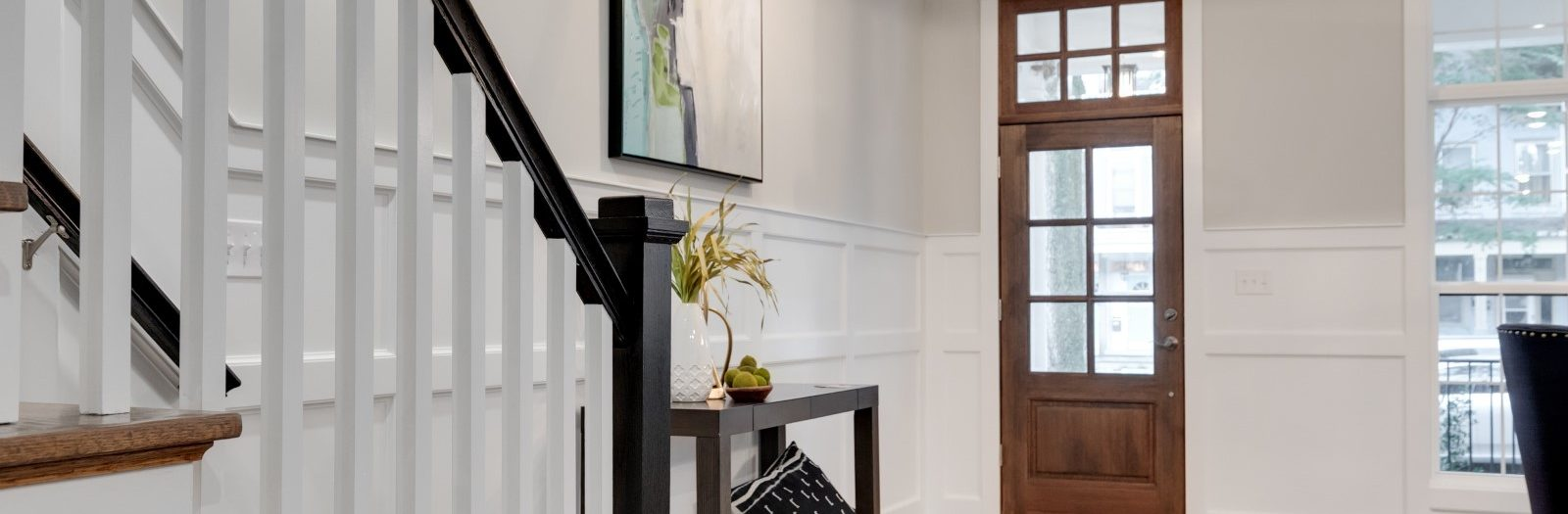 Entryway of new townhouse by Richmond Hill Design-Build