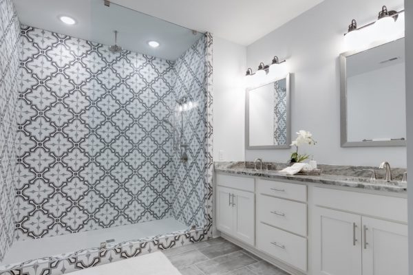 Beautiful owner's bathroom in new townhouse by Richmond Hill Design-Build