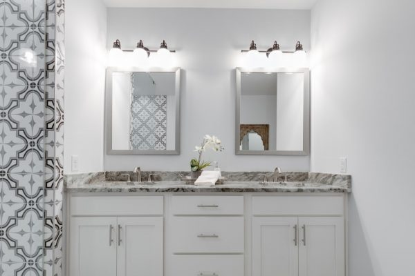 Double vanity in beautiful owner's bathroom in new townhouse by Richmond Hill Design-Build