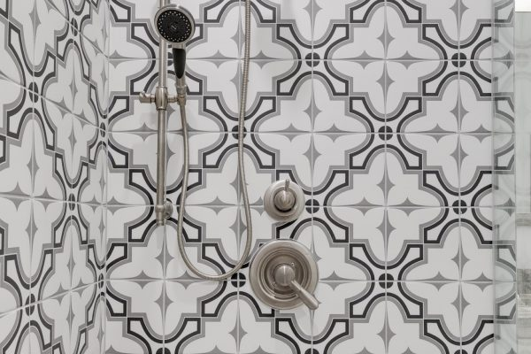 Gorgeous shower in owner's bathroom in new townhouse by Richmond Hill Design-Build
