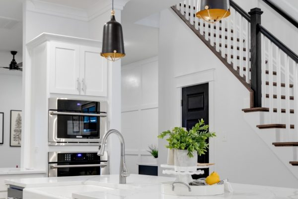 Kitchen island in new townhouse by Richmond Hill Design-Build