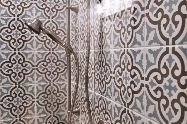 Detail of owner's shower in townhouse by Richmond Hill Design-Build
