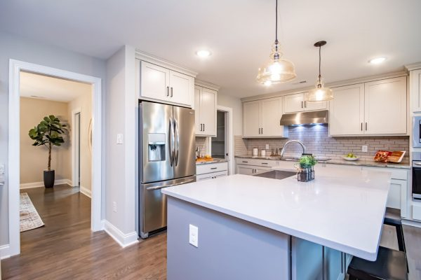 Gorgeous kitchen of renovated ranch home on Lake Cherokee by Richmond Hill Design-Build