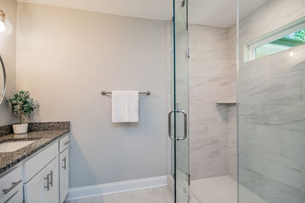 Bathroom in beautiful renovated ranch home by Richmond Hill Design-Build