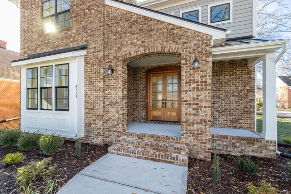 Brick front porch of new home built by Richmond Hill Design-Build