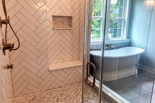 Primary bathroom in new home built by Richmond Hill Design-Build