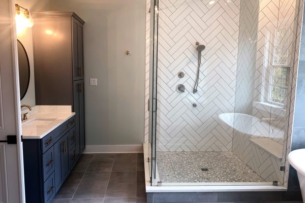 Shower in primary bathroom in new home built by Richmond Hill Design-Build