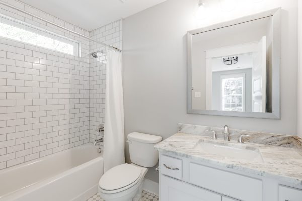 Guest bathroom in new home built by Richmond Hill Design-Build
