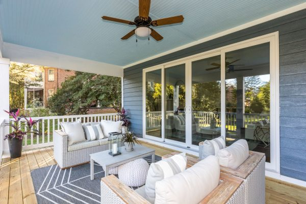 Lovely covered porch of new home built by Richmond Hill Design-Build