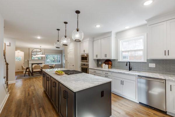 Kitchen island in renovated Tudor home by Richmond Hill Design-Build