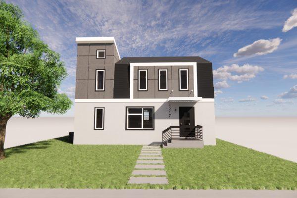 Stunning exterior rendering of modern renovation by Richmond Hill Design-Build